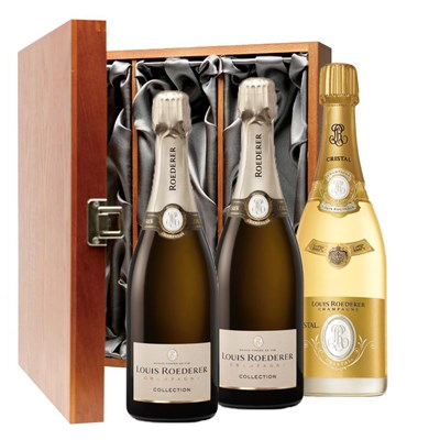 2 x Louis Roederer Collection 242 And 1 Cristal Brut Treble Luxury Gift Boxed Champagne