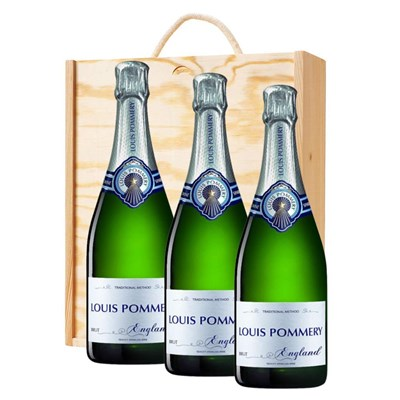3 x Louis Pommery 75cl Brut England Treble Wooden Gift Boxed Champagne