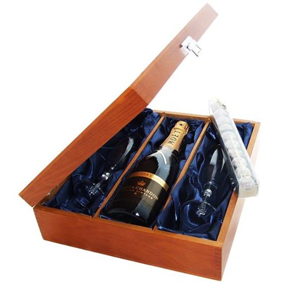 Moet & Chandon Vintage Champagne 2008 and Flutes in Luxury Presentation box with Truffles