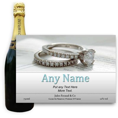 Jules Feraud Brut With Personalised Champagne Label Engagement Ring