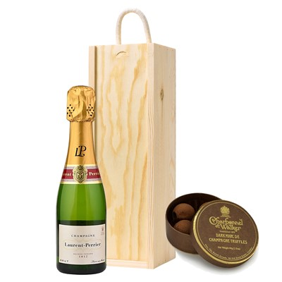 Laurent Perrier La Cuvee 20cl & Charbonnel Dark Champagne Truffles Mini Box 44g