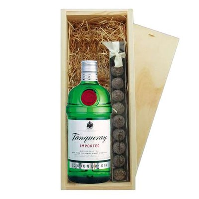 Send Tanqueray Dry Gin & Truffles Wooden Box Online