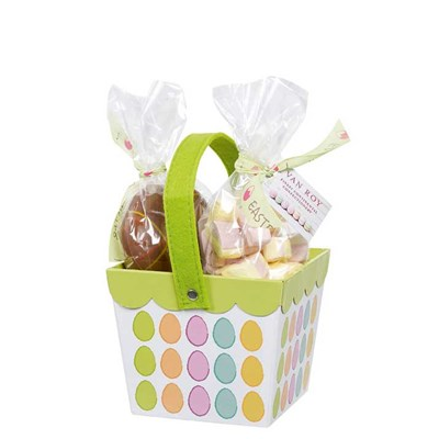 Large Easter basket filled with decorated Belgian milk chocolate eggs and mallows 6x325g