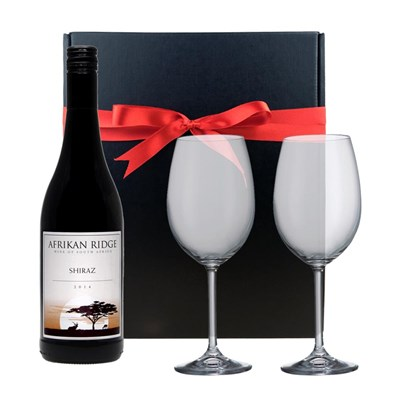 Afrikan Shiraz Cabernet - South Africa And Bohemia Glasses In A Gift Box