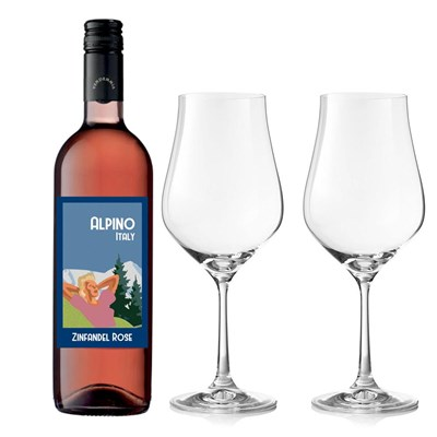 Alpino Pink Zinfandel And Crystal Classic Collection Wine Glasses