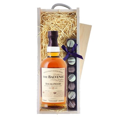 Balvenie 12 Year Old DoubleWood Whisky & Heart Truffles, Wooden Box