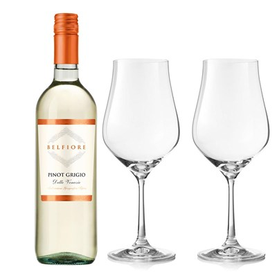 Belfiore Pinot Grigio And Crystal Classic Collection Wine Glasses