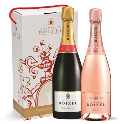 Boizel Brut and Rose Twin 75cl Champagne Gift Box