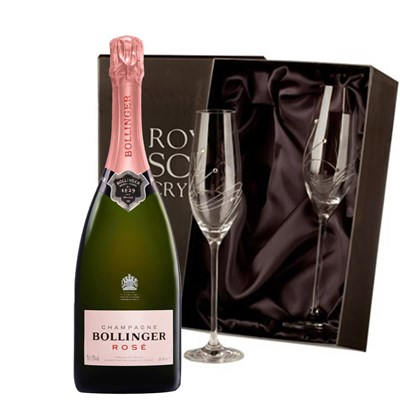 Bollinger Rose NV 75cl With Swarovski Crystal Flutes