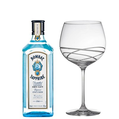 Bombay Sapphire Gin 70cl And Single Gin and Tonic Skye Copa Glass