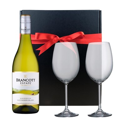 Brancott Estate New Zealand Sauvignon Blanc And Bohemia Glasses In A Gift Box