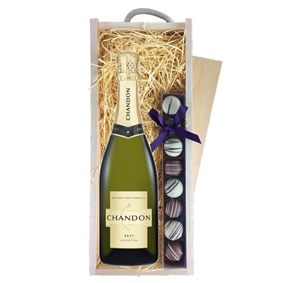 Chandon Brut Sparkling Wine 75cl & Truffles, Wooden Box