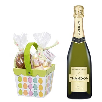 Chandon Brut Sparkling Wine 75cl With Easter basket filled with Belgian chocolate eggs and mallows