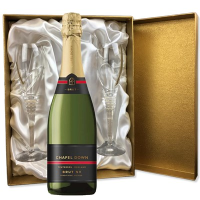 Chapel Down Brut NV in Gold Presentation Set With Flutes