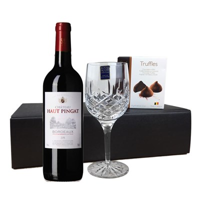 Chateau Haut Pingat Bordeaux - France, Flute And Chocolate Gift box