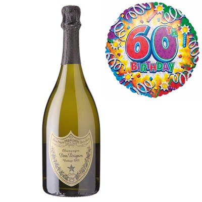 Buy And Send Dom Perignon Brut Champagne and 60th Birthday Balloon Gift Online