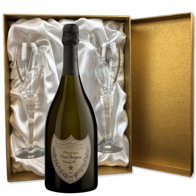 Dom Perignon Cuvee Prestige 2010 in Gold Presentation Set With Flutes
