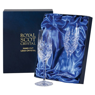 2 Royal Scot Crystal Champagne Flutes - London - PRESENTATION BOXED