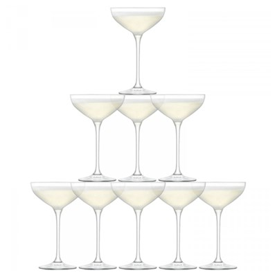 Champagne Tower of Ten Champagne Saucers