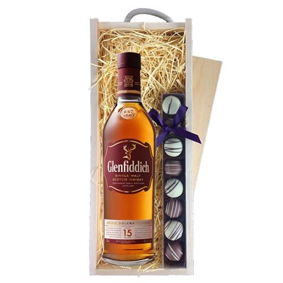 Glenfiddich 15 Year Old Solera & Heart Truffles, Wooden Box