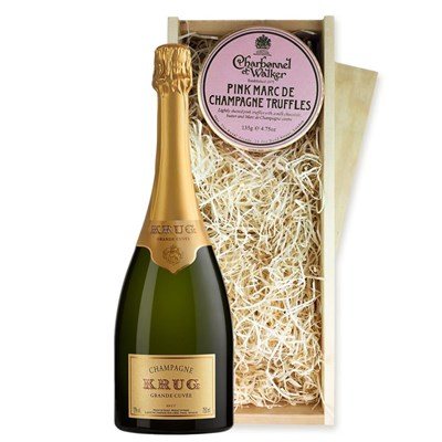 Krug Grande Cuvee Edition 166 75cl And Pink Marc de Charbonnel Chocolates Box