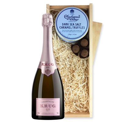 Krug Rose Cuvee 75cl And Dark  Sea Salt Charbonnel Chocolates Box