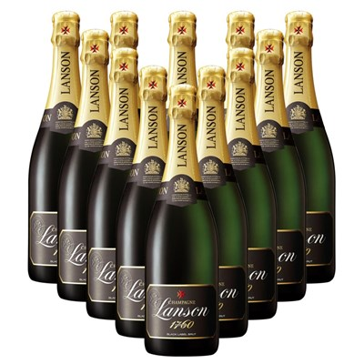 Lanson Black Label Brut 75cl Champagne Bottle Gift Boxed Crate of 12 Champagne