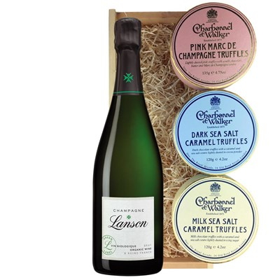 Lanson Green Label Organic Champagne 75cl And Charbonnel Trio of Truffles Gift Box