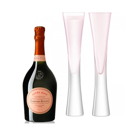 Laurent Perrier Rose NV 75cl with LSA Blush Flutes