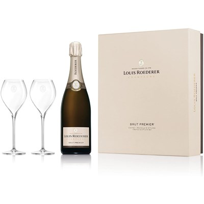 Buy Louis Roederer Brut Premier, NV, 75cl And 2 Flutes Coffret Set Gift Online Now