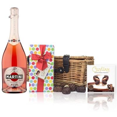 Martini Sparkling Rose 75cl And Chocolates Hamper