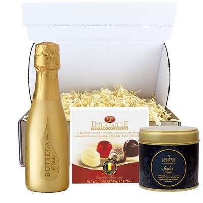 Mini Bottega Gold Prosecco Brut 20cl & Candle Postal Box
