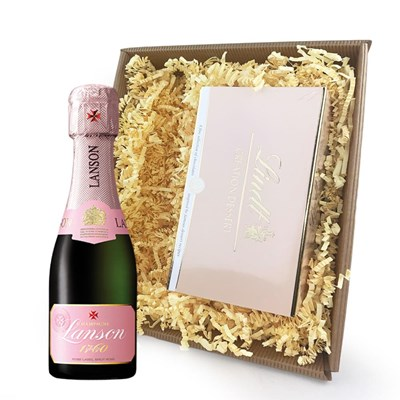 Mini Lanson Rose Champagne 20cl Champagne and Chocolates In Tray