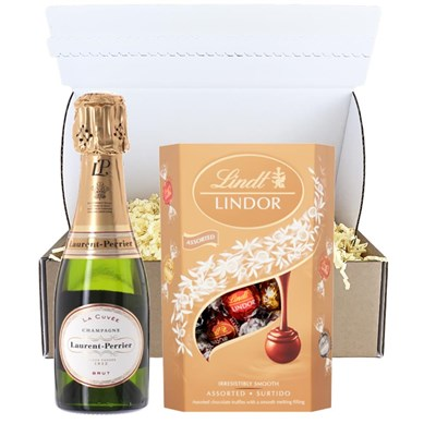 Mini Laurent Perrier La Cuvee Champagne 20cl And Chocolates In Postal Box