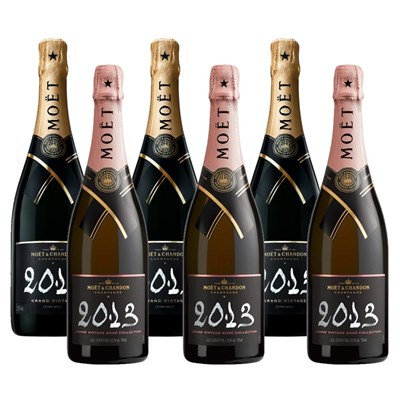 Mixed Case of Moet And Chandon Vintage Brut and Vintage Rose (6x75cl)