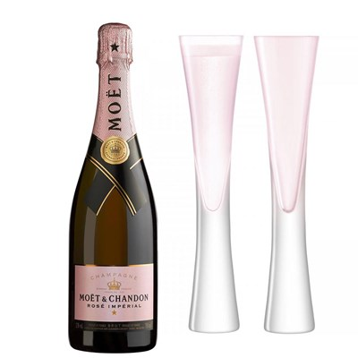 Moet & Chandon Rose Champagne 75cl with LSA Blush Flutes