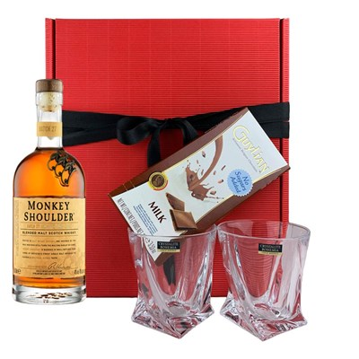 Monkey Shoulder Whisky, Tumbler And Bar of Artisanal Belgian chocolate Gift box