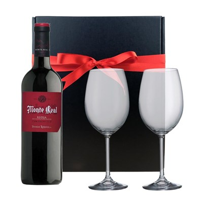 Monte Real Tempranillo And Bohemia Glasses In A Gift Box