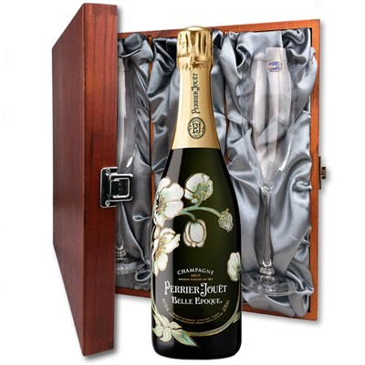 Perrier Jouet Belle Epoque 2013 75cl And Flutes In Luxury Presentation Box