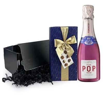 Pommery Pink POP Rose 20cl And Chocolates Gift Carton