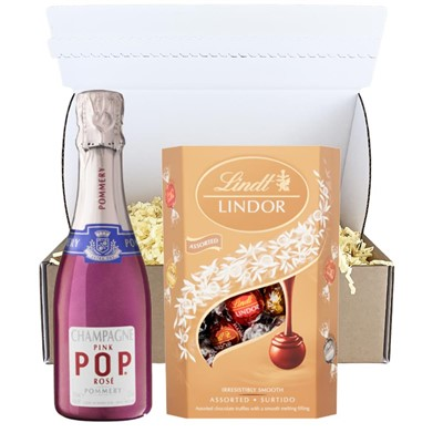 Pommery Pink POP Rose 20cl And Chocolates In Postal Box