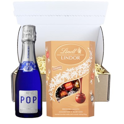 Pommery POP Champagne 20cl And Chocolates In Postal Hamper