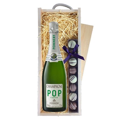 Pommery Pop Earth Champagne 75cl & Truffles, Wooden Box