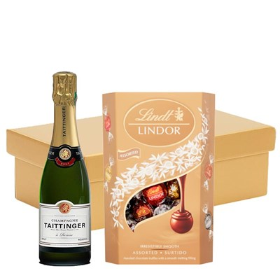 Taittinger Brut Champagne 37.5cl And Chocolates In Gift Hamper