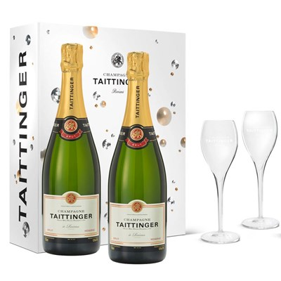 Taittinger Brut Champagne 75cl in Branded Gift Box With Glasses