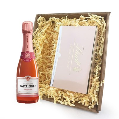 Taittinger Brut Prestige Rose Champagne 37.5cl Champagne and Chocolates In Tray