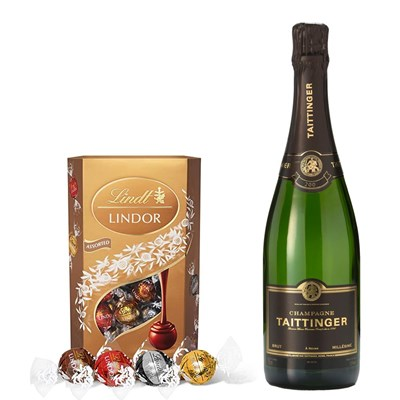 Taittinger Brut Vintage 2014 Champagne 75cl With Lindt Lindor Assorted Truffles 200g