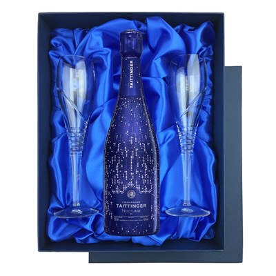Taittinger Nocturne City Lights Edition NV Champagne in Blue Luxury Presentation Set With Flutes