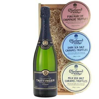 Taittinger Prelude Grands Crus 75cl And Charbonnel Trio of Truffles Gift Box