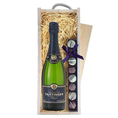 Taittinger Prelude Grands Crus 75cl & Truffles, Wooden Box